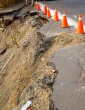 Road Damaged by Landslide Stock Images