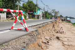 Road damaged Stock Photo