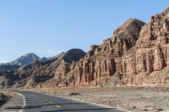 Road in Danxia landform in Zhangye, China Stock Images
