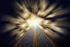 Road from darkness to brightness. Road leading from darkness to brightness light exit. Representing success, religion, holy, faith, belief, spiritual concept royalty free stock photo