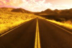 Road In The Daytime. A Road through the hills In The Daytime Royalty Free Stock Photography
