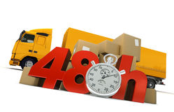 Road delivery in 48 Hrs. 3D rendering of  a pile of packages  and a truck with the words 48 Hrs and a chronometer Stock Photos