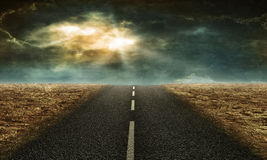 Road in the desert stock illustration