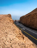 Road in the Desert. Asphalt Road in the Desert of Israel on the way to Dead Sea Stock Images
