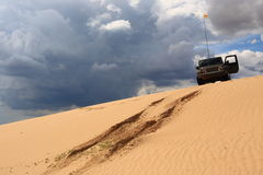 Road in desert. Vehicle track in the desert which shows the road to go royalty free stock photo