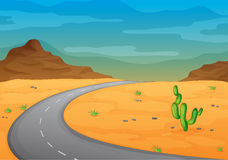 Road in a desert. Illustration of a road in a desert Royalty Free Stock Images