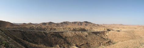 Road in the desert. Tunisia (panorama Stock Image