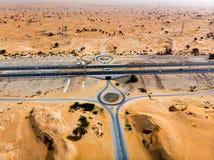 Road in the desert aerial view. Highway road in the desert aerial view stock photography