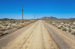 Road through desert in Ash Meadows, California Royalty Free Stock Photo