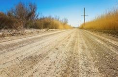 Road through desert in Ash Meadows, California Royalty Free Stock Images