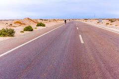 Road in the desert in Egypt Stock Photo