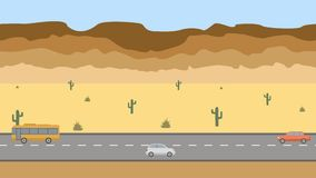 Road in the desert. Flat cartoon panoramic loop animation background 4K royalty free illustration