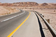 Road through desert in Israel Royalty Free Stock Photo