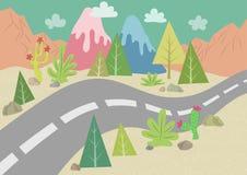 Road in Desert Landscape vector illustration