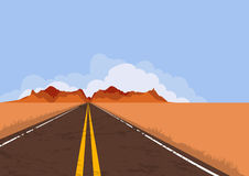 Road in desert and mountains. Nature vector background with copy space. Royalty Free Stock Image