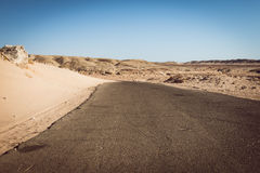 Road in desert in the national park  Ras Mohammed Royalty Free Stock Photo