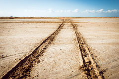 Road in desert in the national park  Ras Mohammed Royalty Free Stock Photos