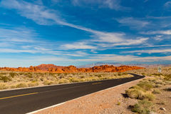 Road in the desert of Nevada, USA. Royalty Free Stock Images