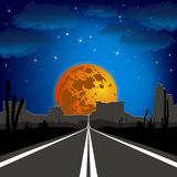 The road in the desert at night. Vector landscape. Royalty Free Stock Images