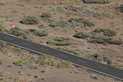 Road in the Desert. One Road in the Desert From an High Mountain Stock Photo