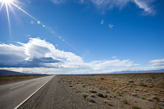 Road in the desert of Patagonia. Wide angle of a road in the desert of Patagonia Stock Images