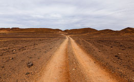 Road in the desert Sahara Stock Photos