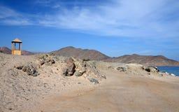 Road in desert Sinai mountains Stock Photos