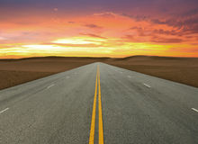 Road on desert Royalty Free Stock Photo