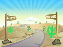 Road on the desert with text board Royalty Free Stock Photos