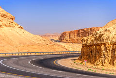 Road in desert on the way to Dead Sea Royalty Free Stock Photo