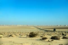 Road in the desert, Western Sahara Stock Photo