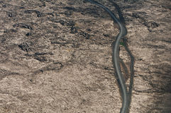 Road in deserted country from above Stock Photos