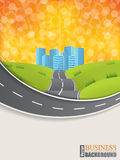 Road design brochure with sunset background Royalty Free Stock Images