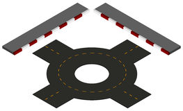 Road design with roundabout and pavements. Illustration royalty free illustration