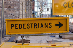 Road detour pedestrian sign Stock Photography