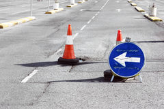 Road detour sign and cones due pothole Stock Photography