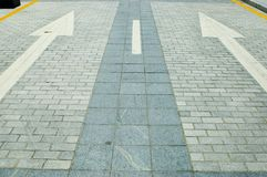 Road with direction arrows. China, Shenzhen city centre. New road with direction arrows in Futian district Stock Image