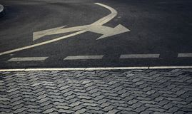 Road marking  for showing different direction Stock Image
