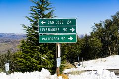 Road directions on top of Mt Hamilton on a rare winter day with snow, San Jose, south San Francisco bay area, California royalty free stock photos