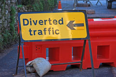 Road Diversion sign Stock Photo