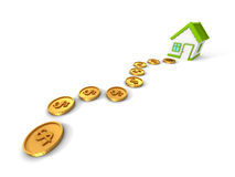 Road Of Dollar Coins To Dream Hoyse. Real Estate Concept Stock Photos