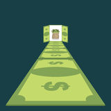 Road of dollars. Path to prosperity. footpath of money. cash bag Stock Images