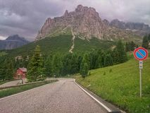 Road in Dolomites mountains Royalty Free Stock Photos