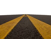 Road with double yellow lines Stock Photo