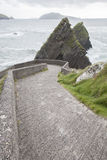 Road Down to Dunquin Harbor with Blasket Island Royalty Free Stock Photography