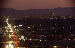 Phoenix Downtown Buildings Night Scene Stock Photos