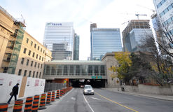 Road in downtown of Toronto. View on the downtown of Toronto City, Onatrio province, Canada. The photo was taken in November 2013 Royalty Free Stock Photography
