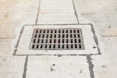Road drains-Drain on concrete road in Thailand stock image
