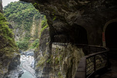 Road dug into rock at the Taroko National Park in Taiwan Royalty Free Stock Images
