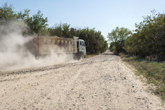 Road dust truck Stock Photo